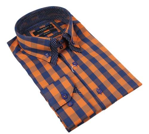 Mens Italian Button Double Collar Shirt Orange Blue Check Design Slim Fit Smart Casual