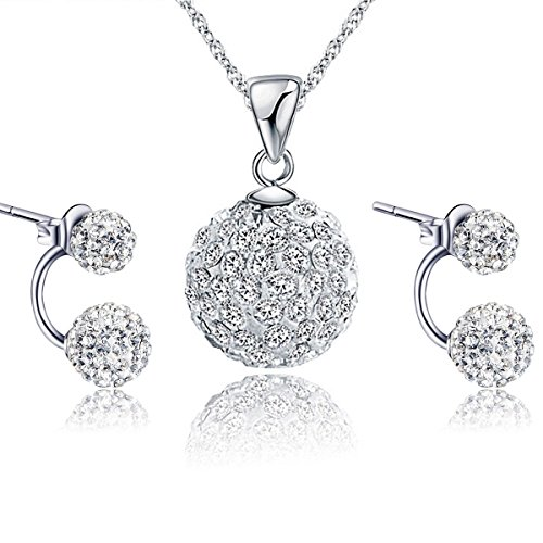 Gilind argento 925 Discoteca palla collana e orecchini set per le donne + Pacco regalo (Style 1)