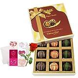 Yummy Truffles Treat With Love Card And Rose - Chocholik Luxury Chocolates