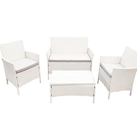 Bakaji Sorrento Set complet sofa table 2fauteuils et banc 2 places avec coussins rembourrés en Poly rotin Jardin bar piscine d'extérieur Relax Blanc