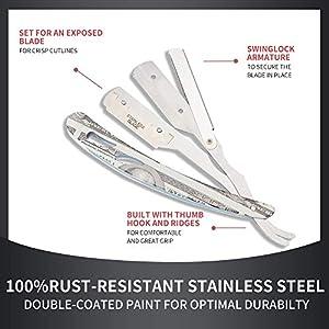 Straight Razor,100 Percent Stainless Steel Edge Razor,Professional Classic Edge up Razor,Salon Quality Straight Edge Razor,Safety Blades for Men,Barber Razor,Straight Razor Kit- 5 Blades
