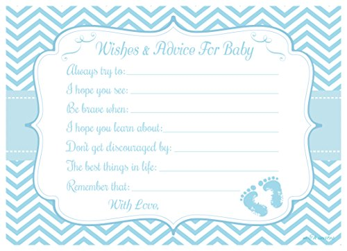 Blue Baby Feet Wishes and Advice for Baby Cards - Baby Shower Activity/Game (20