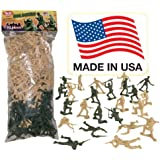 Tan vs Green TimMee Plastic Army Men: 100 Piece Set of 2 inch Toy Soldier Figures - Made in the USA!