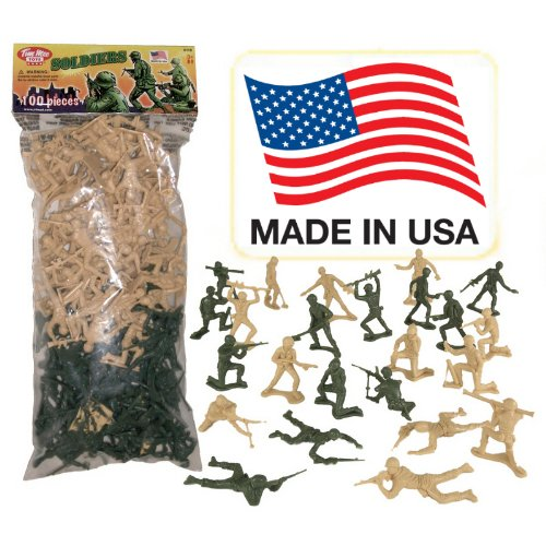 Tan vs Green TimMee Plastic Army Men: 100 Piece Set - Made in the USA !