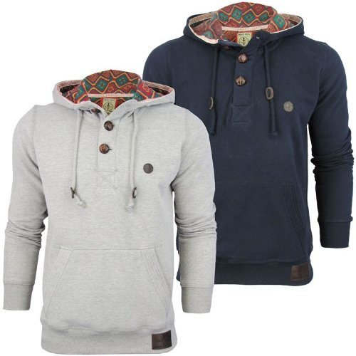 Mens Brave Soul Soft Feel Button Up Hoodie Jumper 'Agabus' Aztec Hood