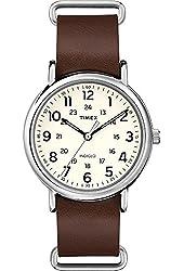 Timex Weekender 40 Slip Thru Leather Strap Watch - Brown