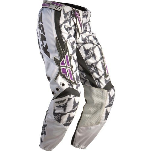 Fly Racing Kinetic Race Youth Girls Dirt Bike Motorcycle Pants - Gray/White/Purple / Size 54