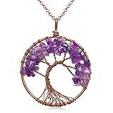 Uniki Tree of Life Pendant Amethyst Rose Crystal Necklace Gemstone Chakra Jewelry Christmas Gifts (amethyst)