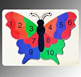 Wooden numbers jigsaw, colourful butterfly puzzle, great fun eye educational