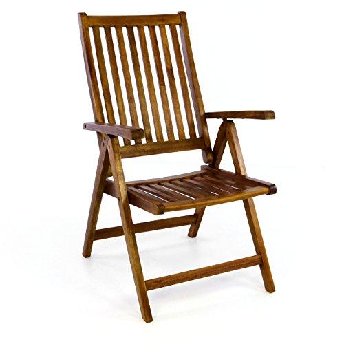 DIVERO-Stuhl-Akazie-Holz-Hochlehner-5-fach-verstellbar-klappbar-Gartenstuhl