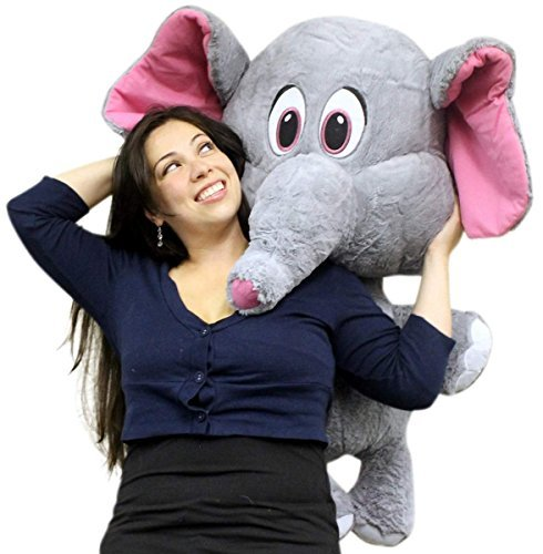 Giant Stuffed Elephant 36 Inches With Pink Ears Big Plush Soft
