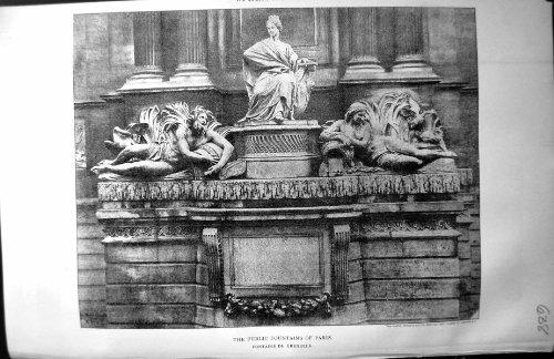 Costruttore Pubblico 1890 di Parigi Fontaine De Grenelle Architecture delle Fontane