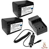 Two Halcyon 2400 MAH Lithium Ion Replacement Battery And Charger Kit For Sony HDRCX580V High Definition Handycam...