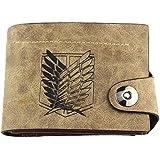 CA Attack on Titan Eren Mikasa Levi Scouting Legion Cosplay Yellow Bi Fold Yellow Short Wallet