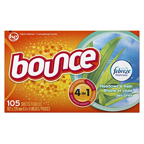 Bounce With Febreze Meadows & Rain Dryer Sheets, 105 Count, (Pack of 3) (Bounce Dryer Sheets Unscented compare prices)