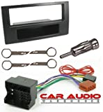 T1 Audio CT24FD13 Noir Ford Fiesta, Fusion, Transit et Focus Voiture Stéréo-Kit de fixation complet avec Adaptateur de façade d'autoradio Simple DIN câblage Harnes Aireal, adaptateur et stereo original pour retrait touches