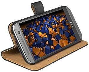 mumbi Ledertasche im Bookstyle für HTC One M8 (Modell 2014) Tasche schwarz