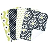 Trend Lab Waverly Rise and Shine Burp Cloth Set, Black/White, 4 Count
