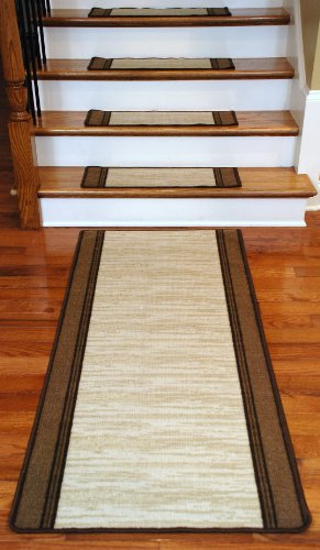 Washable Non-Skid Carpet Stair Treads - Boxer Beige (13) PLUS a Matching 5' Runner