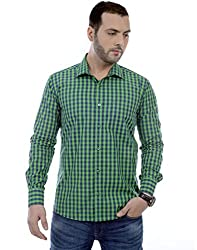 Zeal Checkered 100% Cotton Green-Dark Blue Casual Shirt for Men