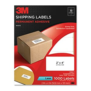 3M Permanent Adhesive Shipping Labels, 2 x 4 Inches, White, 1000 per Pack (3100-T)