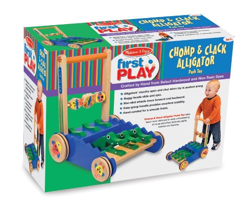 Melissa & Doug Deluxe Wooden Chomp and Clack Alligator Push Toy