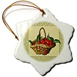 orn_170657_1 BLN Victorian Fruits and Flowers Collection - Woven Basket of Strawberries on a Green Ivy Pattern Background - Ornaments - 3 inch Snowflake Porcelain Ornament
