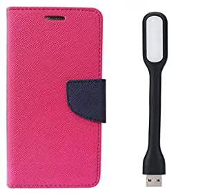 Novo Style Book Style Folio Wallet Case Xiaomi Redmi 2s Pink + Mini USB LED Light Adjust Angle / bendable Portable Flexible USB Light