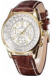 Ks Aviator Luxury Day Date 24Hours Automatic Mechanical Mens Brown Leather Wrist Watch KS161