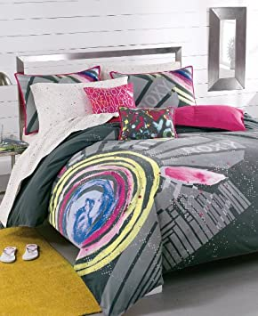 Cool Roxy Pink Gray Graphic Galaxy Teen Girls Duvet Sham Set