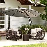Key West Outdoor Silver Cantilever Patio Canopy Umbrella