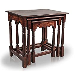 Mart N Art Artica Nested Table: Solid Wood Mahogany Finish