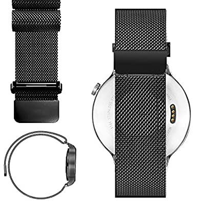 20mm Magnetic Milanese Loop Stainless Steel Magnet Closure Lock Band For Pebble Time Round 20MM 2015, Moto 360 2nd 42mm, Samsung Gear S2 Classic SM-R7320 (YESOO Retail Packaging - 180 Days Warranty)