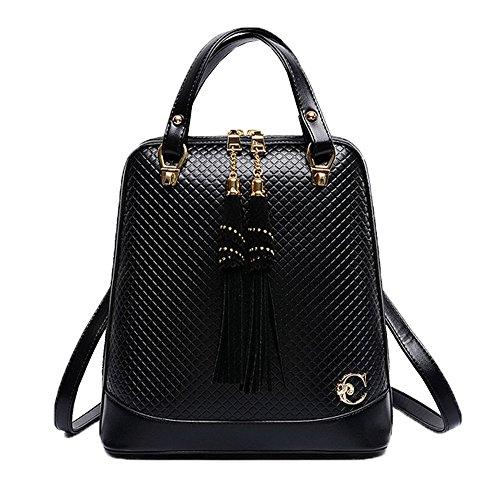 FTSUCQ Womens Tassel Diamond Lattice Totes Shoulder Bags Backpack Travel Daypack Black Satchels