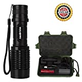 Tactical Flashlight, Amz vision Brightest LED Flashlight, 5 Modes Zoomable Focus, Waterproof with 18650 Rechargeable Battery & Charger