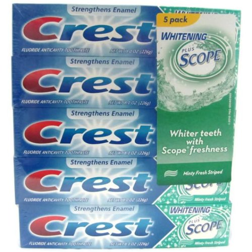 New - Crest Toothpaste Whitening  Scope 5PK -