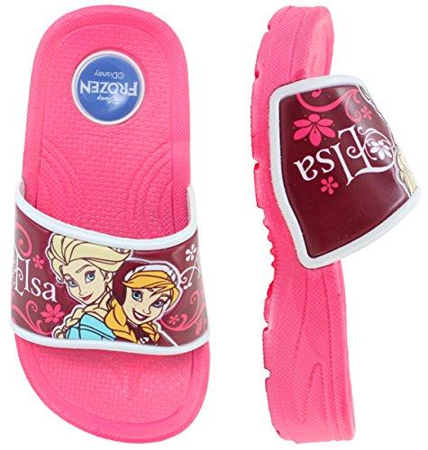 Disney Frozen Elsa Anna Girls Hot Pink Clog Mule Slippers Sa