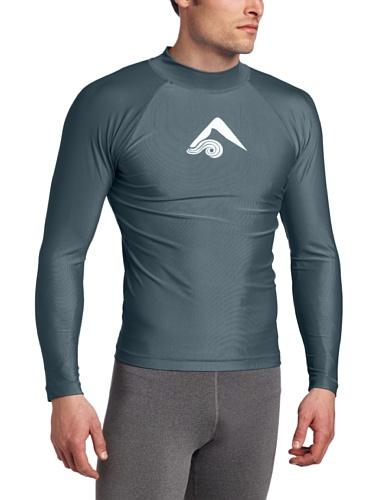 Kanu Surf Men's Long Sleeve Platinum UPF 50+ Rashguard Swim Tee, Charcoal, X-Large