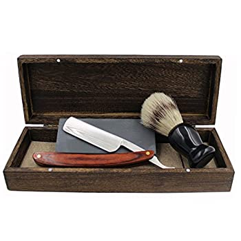Vintage Cut Throat Straight Razor Solid Brown Wood Handle Bristle Shaving Brush Natural Whetstone and Wooden Box Set with Gift Bag