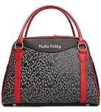 Hello Kitty Handbag, Leopard Print Bowler Bag, Black