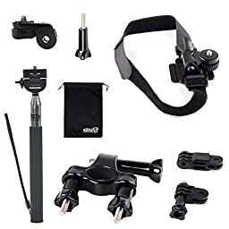EEEKit Riding Kit for Orbo NR22 Extreme Sports Action Camera,Bike Bicycle Handlebar/Helmet Mount Holder,Extendable Handheld Monopod and Release Plate