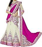 FastColors Pink Net & Chiffon Embroidered Designer Semi-stitched Lehenga Choli (Lehnga_108_Free Size_Pink)