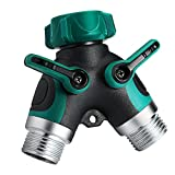 Homitt Metal 2 Way Y Hose Connector, Garden Hose Splitter with Comfortable Rubberized Grip for Easy Garden Life