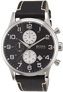 Hugo Boss Chronograph Black Dial Black Leather Mens Watch 1512569