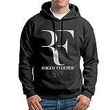 RENNA テニス選手 ロジャー フェデラー メンズ 大人気 スウェットシャツ フード付き プルオーバーパーカー ゴルフ Black L