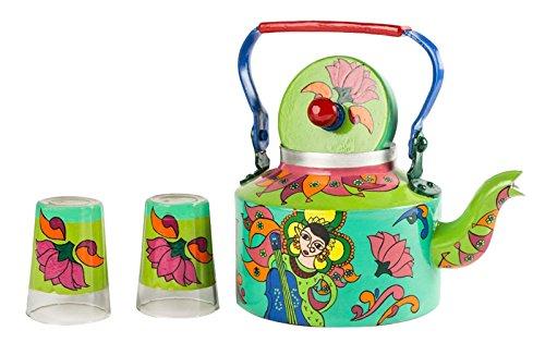a-krazy-mug-durga-puja-tabelle-decor-handgemalte-teekessel-mit-2-glas-set-indischen-geschenk