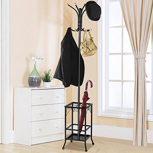 Yaheetech Metal Coat Rack Umbrella Stand Holder Vintage Hat Jakcet Metal Tree 8 Hooks 1