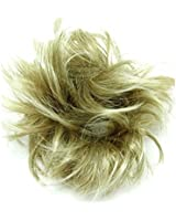 Super Fake Hair Scrunchy On A Ponio Loop. Medium Size - Medium Blonde With Highlights. Yellow