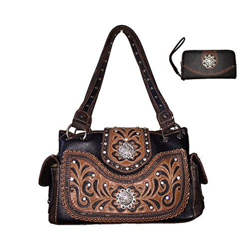 Rhinestone Tooled Flora Embroidery Twin Concho Concealed Carry Leather Handbag Purse and Matching Wallet One Set in Black, Beige, Hot Pink, Turq