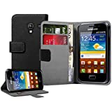 Black PU Leather Wallet Vertical Case for Samsung GT-S7500 Galaxy Ace Plus - High Quality Flip Phone Cover + 2 Screen Protectors